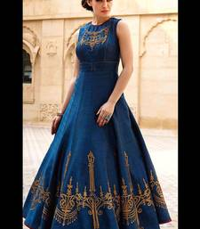 party wear dresses buy blue embroidered silk semi stitched pary wear gown party-wear-gown  online GKSTUAT