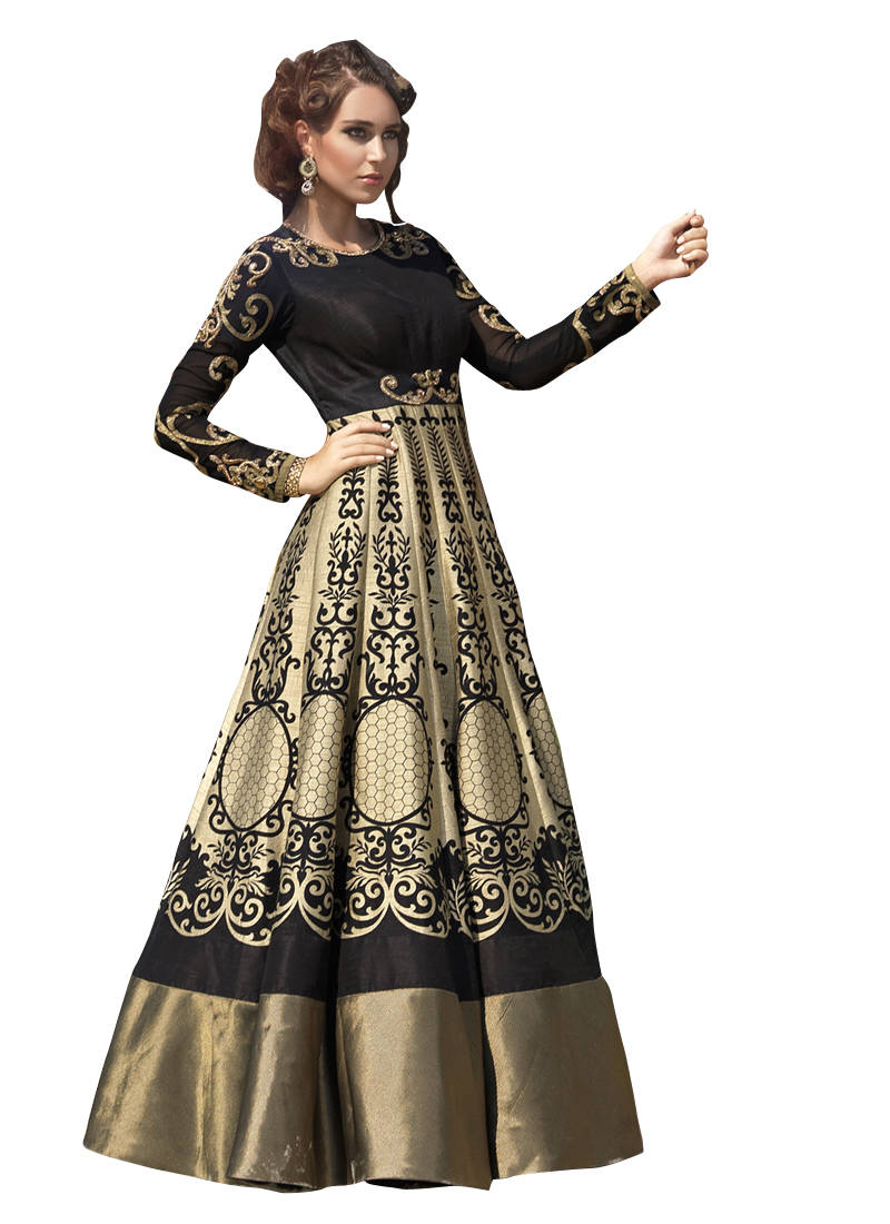 party wear dresses buy golden cotton silk printed semi stitiched party wear gowns party-wear- gown online KQSBGXN