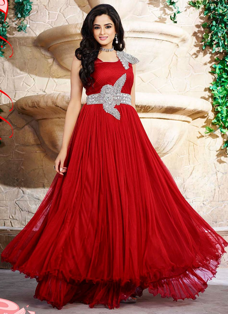 party wear dresses dazzling hot red net designer party wear dress.these dress made up of net  and CLOJPXX