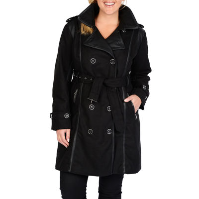 pea coats for women excelled® faux-wool belted trench coat - plus AZOBSEM