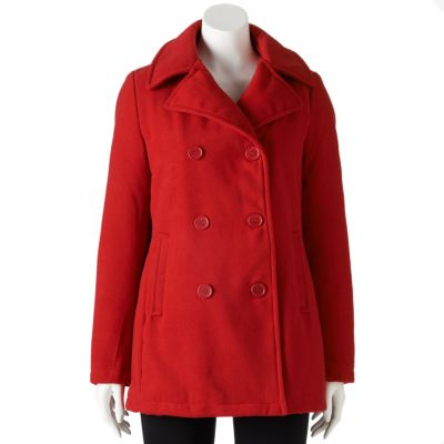 pea coats for women womenu0027s excelled double-breasted faux-wool peacoat HITMQYB