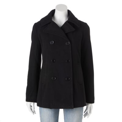 pea coats for women womenu0027s excelled double-breasted faux-wool peacoat SNNQGNC
