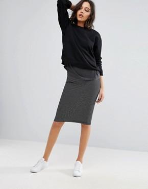 pencil skirt only abbie jersey stripe skirt TVUDPBY