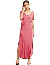 pink dresses for women makemechic womenu0027s casual loose pocket long dress short sleeve split maxi  dress YUJIASS