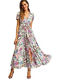 pink dresses for women milumia womenu0027s button up split floral print flowy party maxi dress SNTJOAV