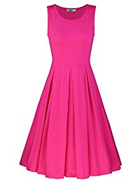 pink dresses for women styleword womenu0027s sleeveless casual cotton flare dress TDNDPYS