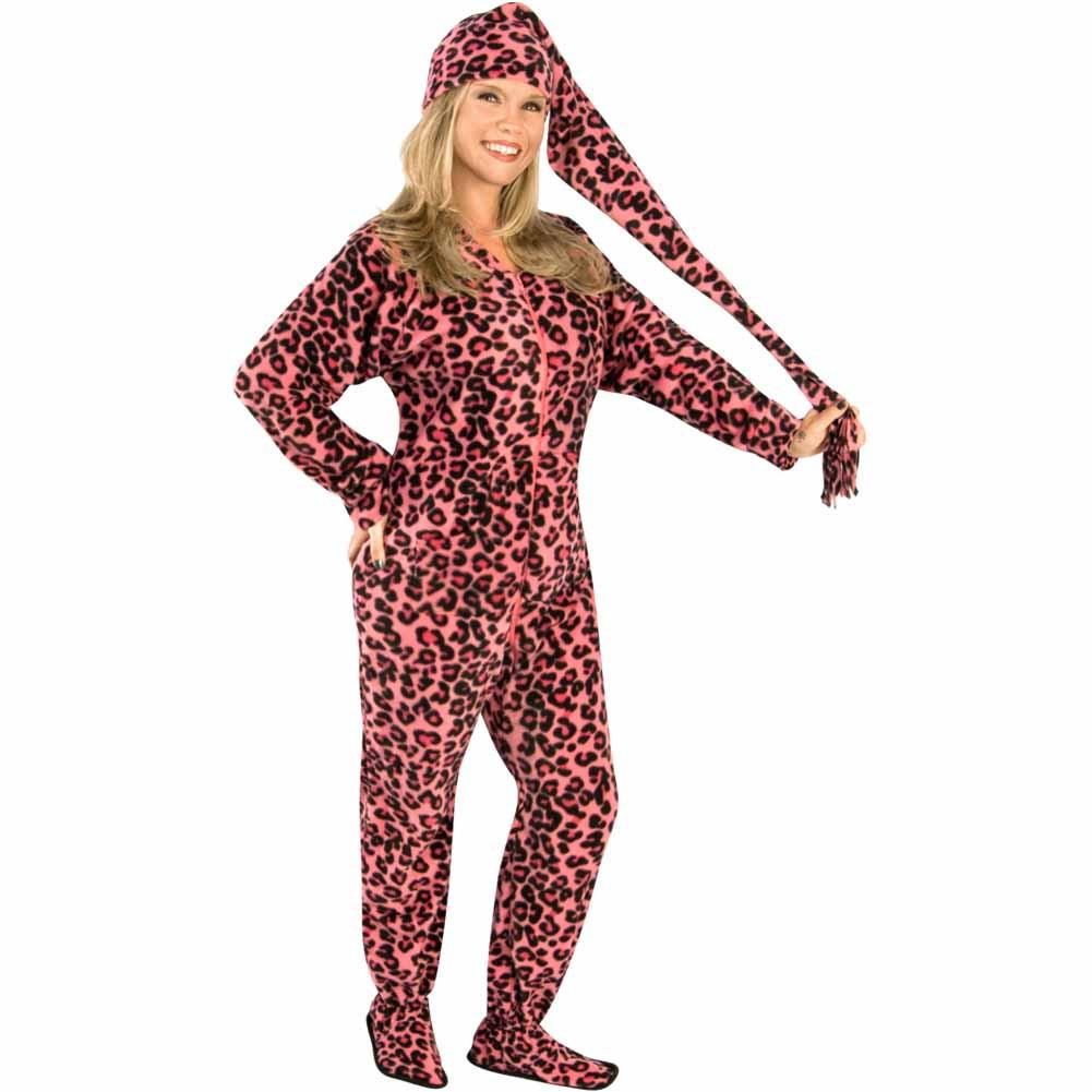 pink leopard adult footed pajamas with drop seat and long night cap REGGARC