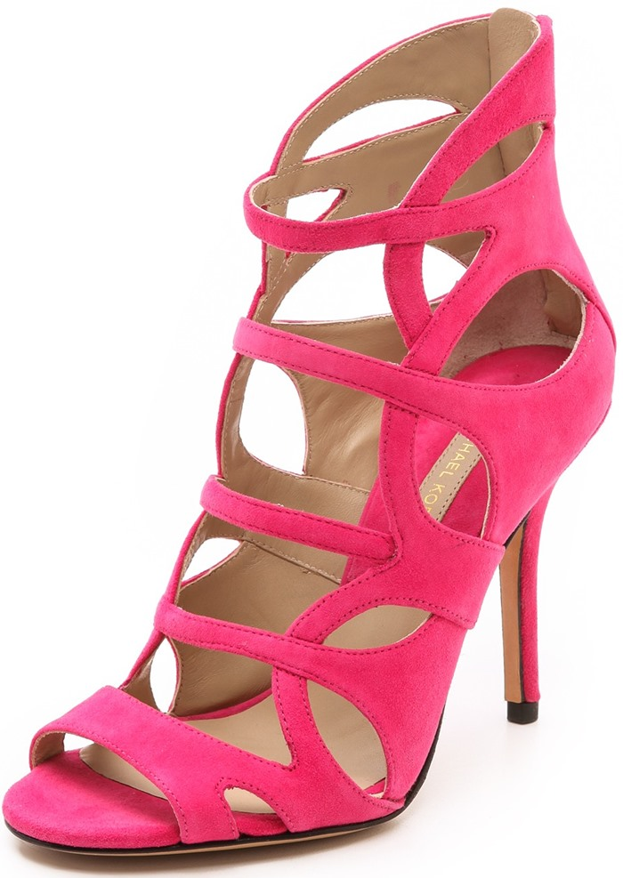 pink shoes michael kors collection casey cutout sandals PSUVOKI
