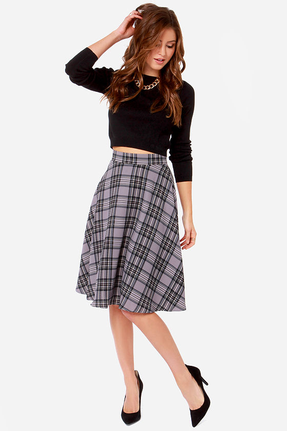 plaid skirt - grey skirt - midi skirt - $58.00 RMQELOY