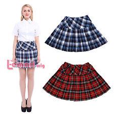 plaid skirt us ship plaid pleated skirt jk school sailor cotton zipper elasticity  cosplay YGYJFDD