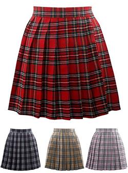 plaid skirt womenu0027s pleated mini skirt - six plaid patterns JIAJDBV