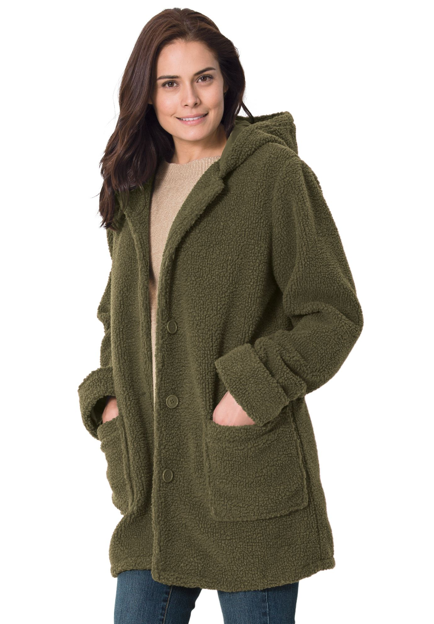 plus size coats hooded berber jacket SRXBVRE