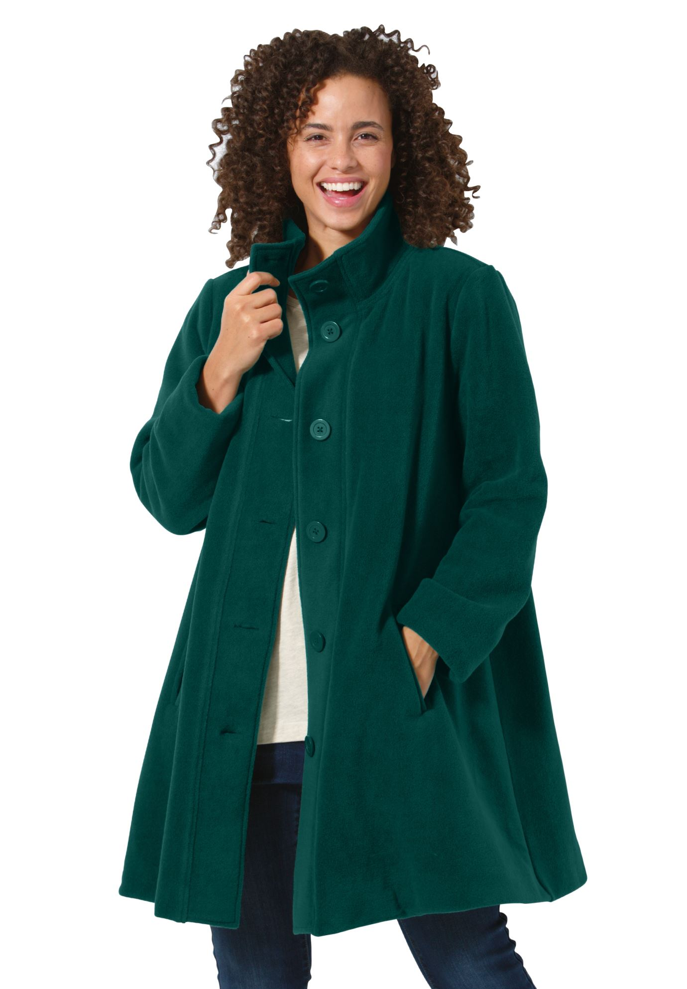 plus size coats jacket, swing style, in cozy fleece KXEXEEX