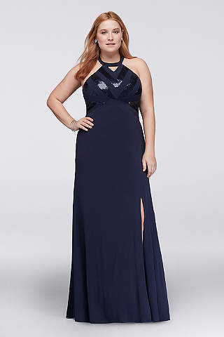 plus size evening dresses davidu0027s bridal. sequined chevron halter plus size dress FWEWGPV