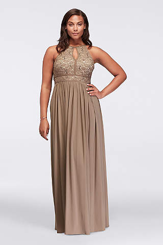 plus size evening dresses morgan and co. lace keyhole tie back plus size ... OLYUEOA