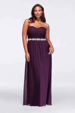 plus size formal dresses davidu0027s bridal. strapless chiffon plus size prom ... WFOHZNK