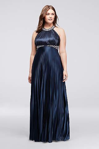 plus size formal dresses davidu0027s bridal. strappy back pleated halter plus size ... WZYNOMW