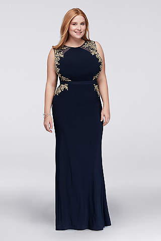 plus size formal dresses illusion sheath plus size dress with embroidery YLSBDNP