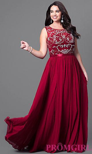 plus size formal dresses jeweled illusion plus-size prom dress - promgirl TKSPOGI