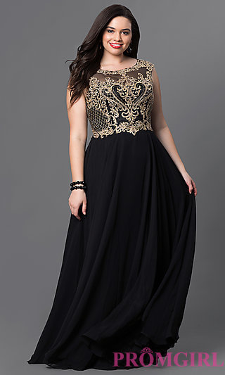 plus size formal dresses plus-size long prom dress with embroidery - promgirl BQOVALR