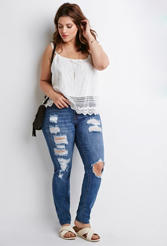 plus size jeans plus size distressed skinny jeans | forever 21 plus - 2000082451 MRBCXKH