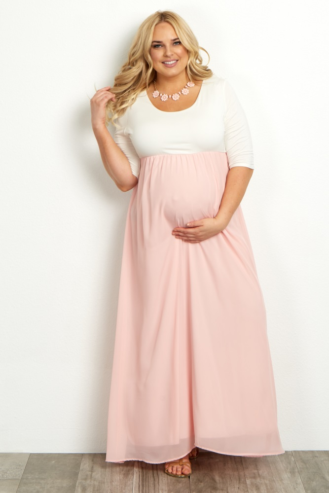 plus size maternity clothes coral chiffon colorblock plus maternity maxi dress KGPTLLQ