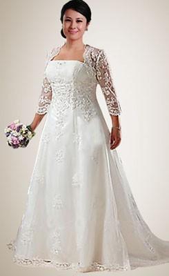 plus size wedding gowns beading embroidery plus size wedding dress with jacket YKPSIJH