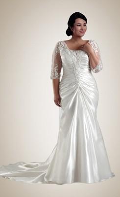 plus size wedding gowns exquisite trumpet/mermaid half-sleeve plus size wedding dress FQUDLPX