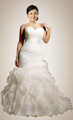 plus size wedding gowns retro empire mermaid sweetheart beaded ruffles plus size bridal gown QTGOBNZ