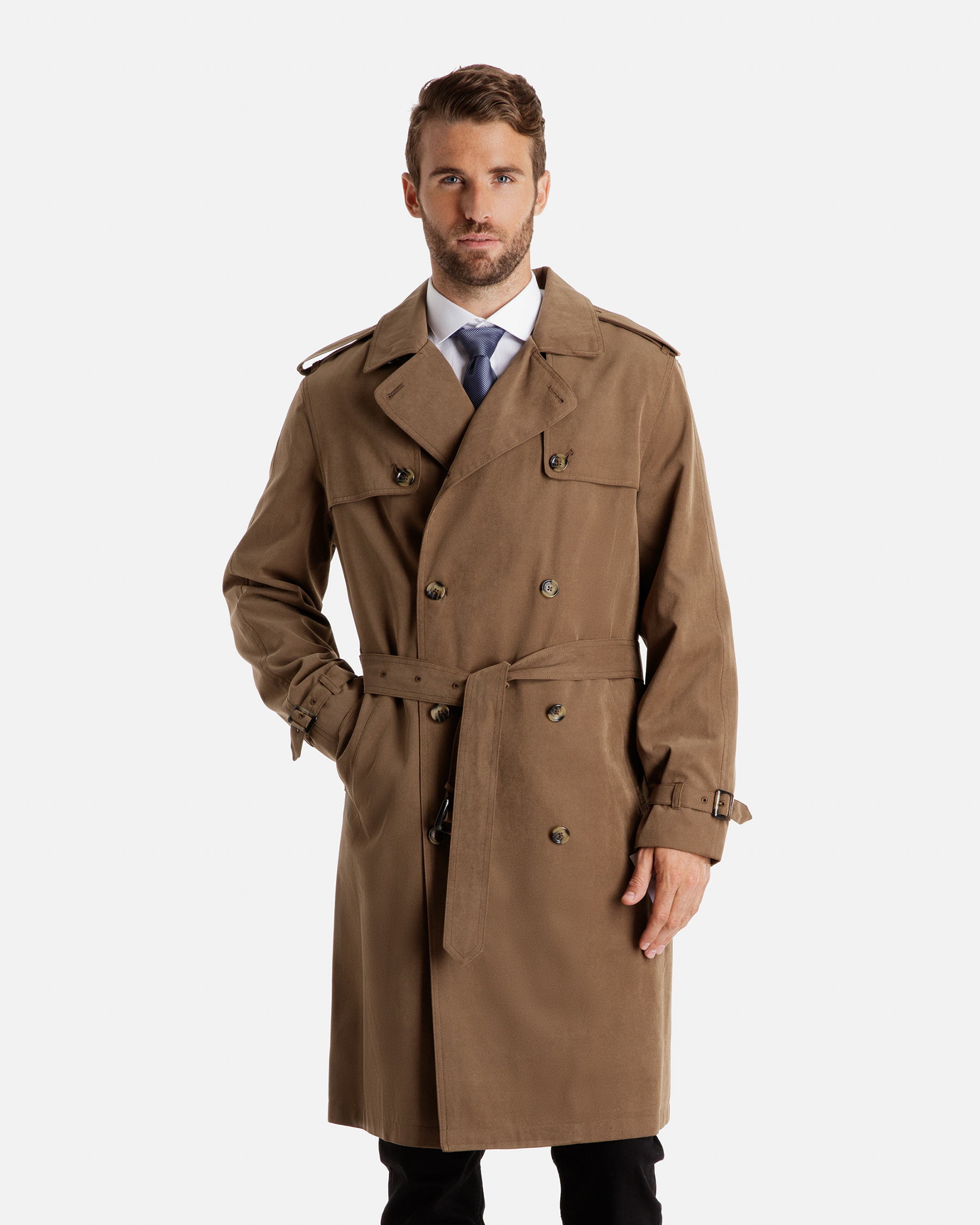plymouth double breasted trench coat with double gun flap ... DOMPTOT