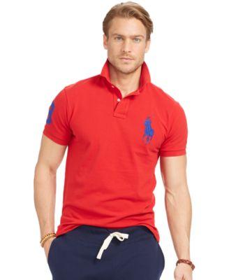 polo shirts for men polo ralph lauren menu0027s custom-fit big pony mesh polo shirt NFUYGSB