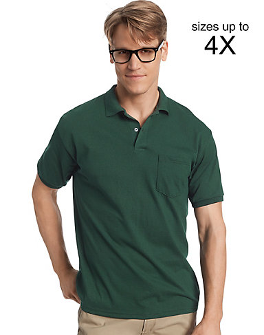 polo shirts for men quick look hanes menu0027s cotton-blend ecosmart® jersey polo with pocket BMZGSFZ
