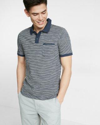 polo shirts for men ... striped jacquard flat knit jersey polo XYXMIPN