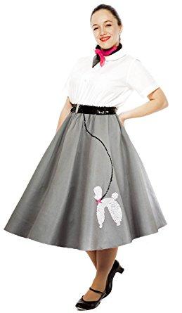 poodle skirt - adult medium / large sz - grey AQMXECJ