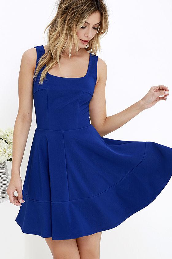pretty cobalt blue dress - skater dress - $42.00 RDKGRIE