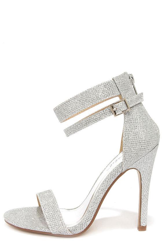 pretty glitter heels - silver heels - ankle strap heels - $29.00 VSYNIKU