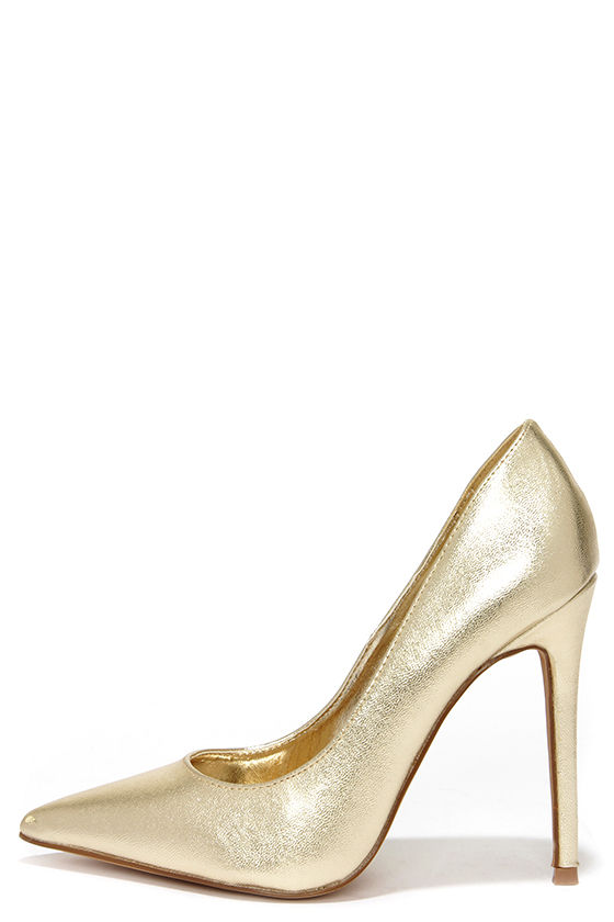 pretty gold pumps - pointed pumps - gold heels - $34.00 IKVQXRP