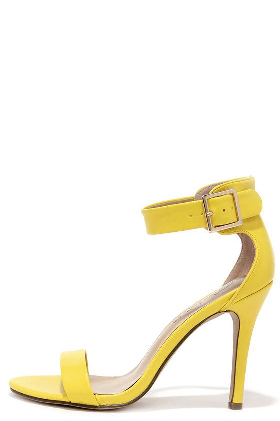 pretty yellow heels - ankle strap heels - single strap heels - $25.00 AHCGJER