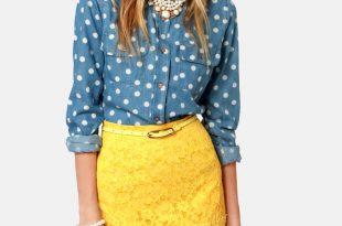 pretty yellow skirt - lace skirt - pencil skirt - $75.00 ONAEHGL