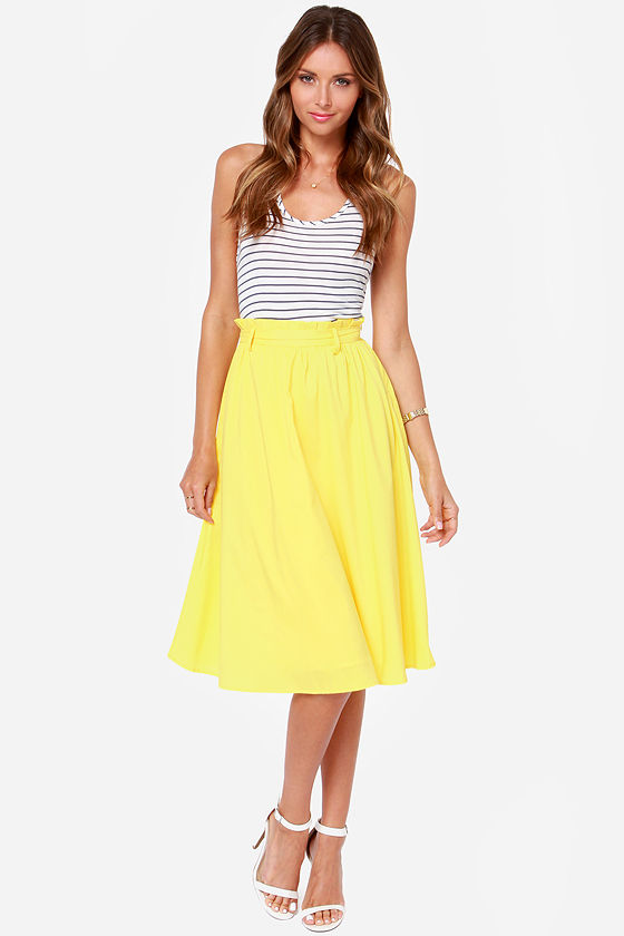 pretty yellow skirt - midi skirt - $49.00 JSWABHY