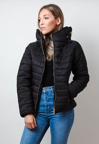 puffer jackets black high collar puffer jacket WHPGJQX