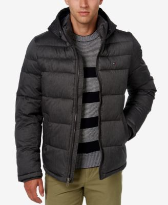 puffer jackets tommy hilfiger menu0027s classic hooded puffer jacket YMWXKDW