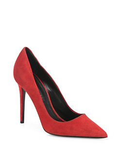 pumps shoes alexander wang - tia suede point toe tilt-heel pumps XTOFDQE