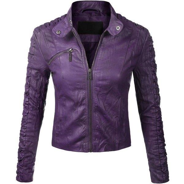 purple jacket biadani women faux leather moto biker detail jacket ($32) ❤ liked on  polyvore featuring CCHFYSW