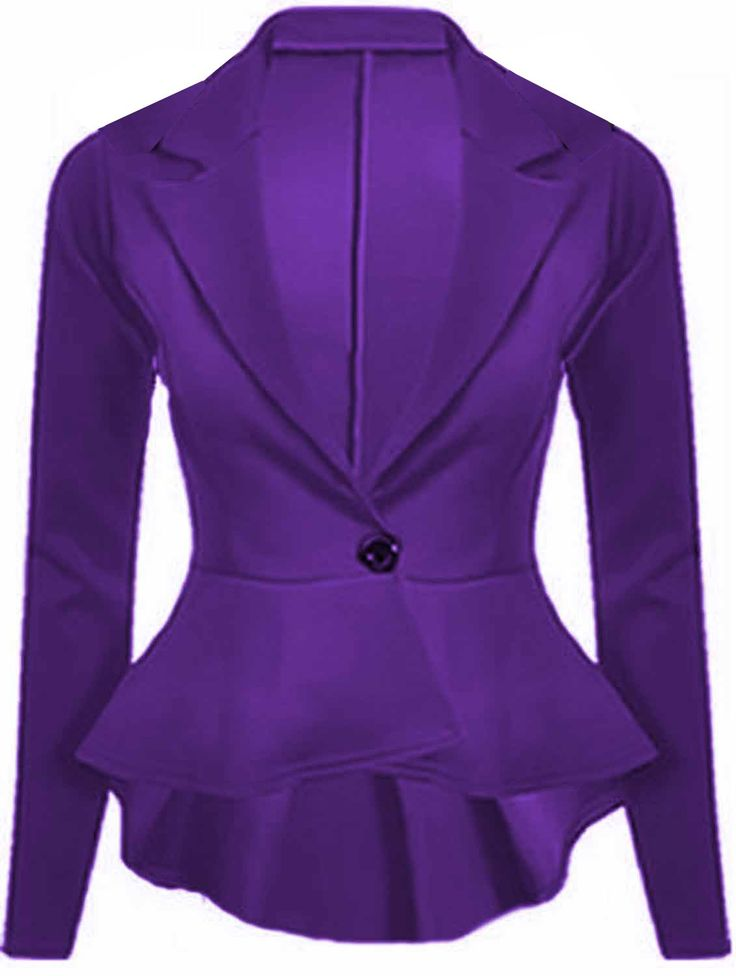 purple jacket purple womenu0027s crop slim fit peplum blazer jacket by gorgeous mode OTHUVEB