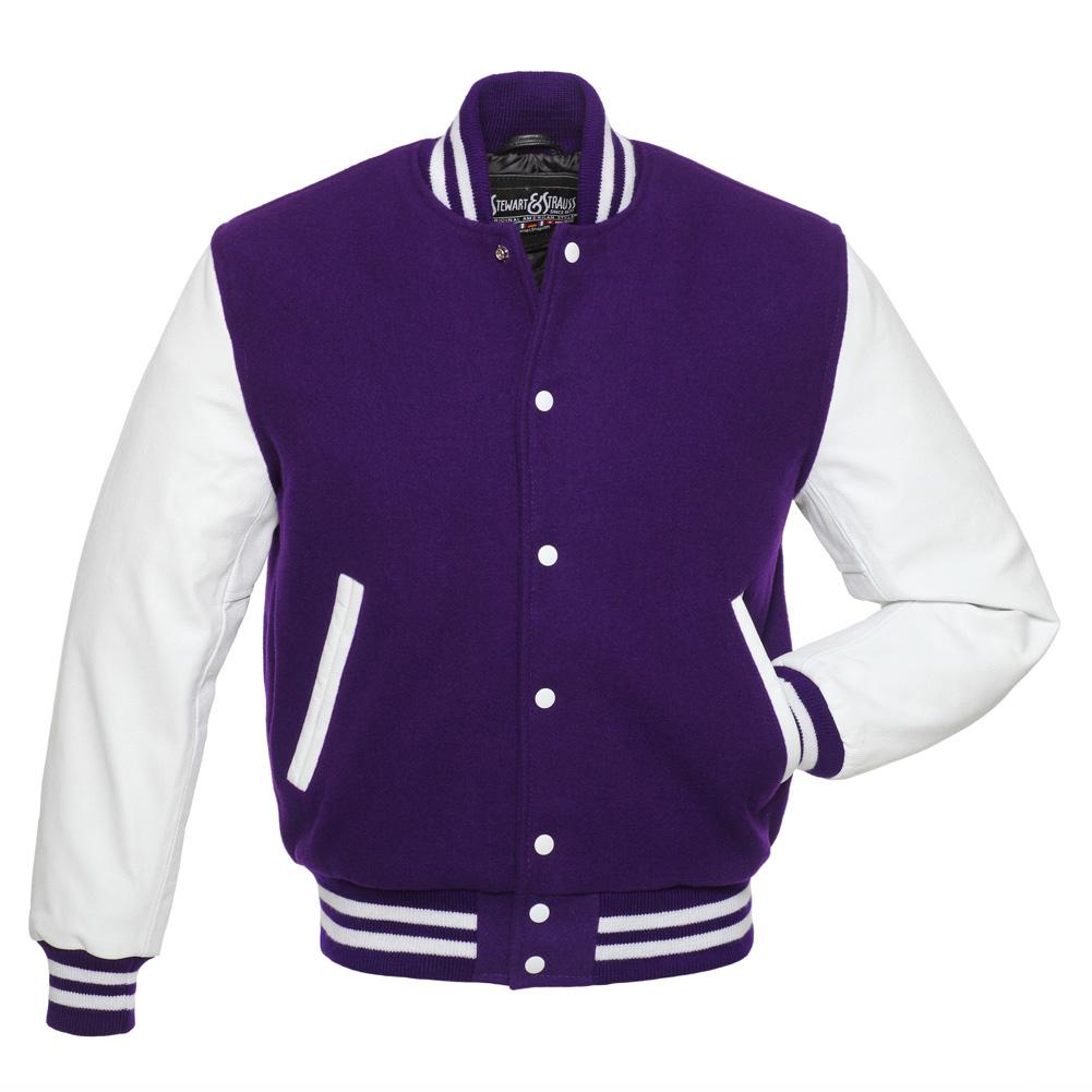 purple jacket purple-wool-white-leather-college-jacket IUIYMME