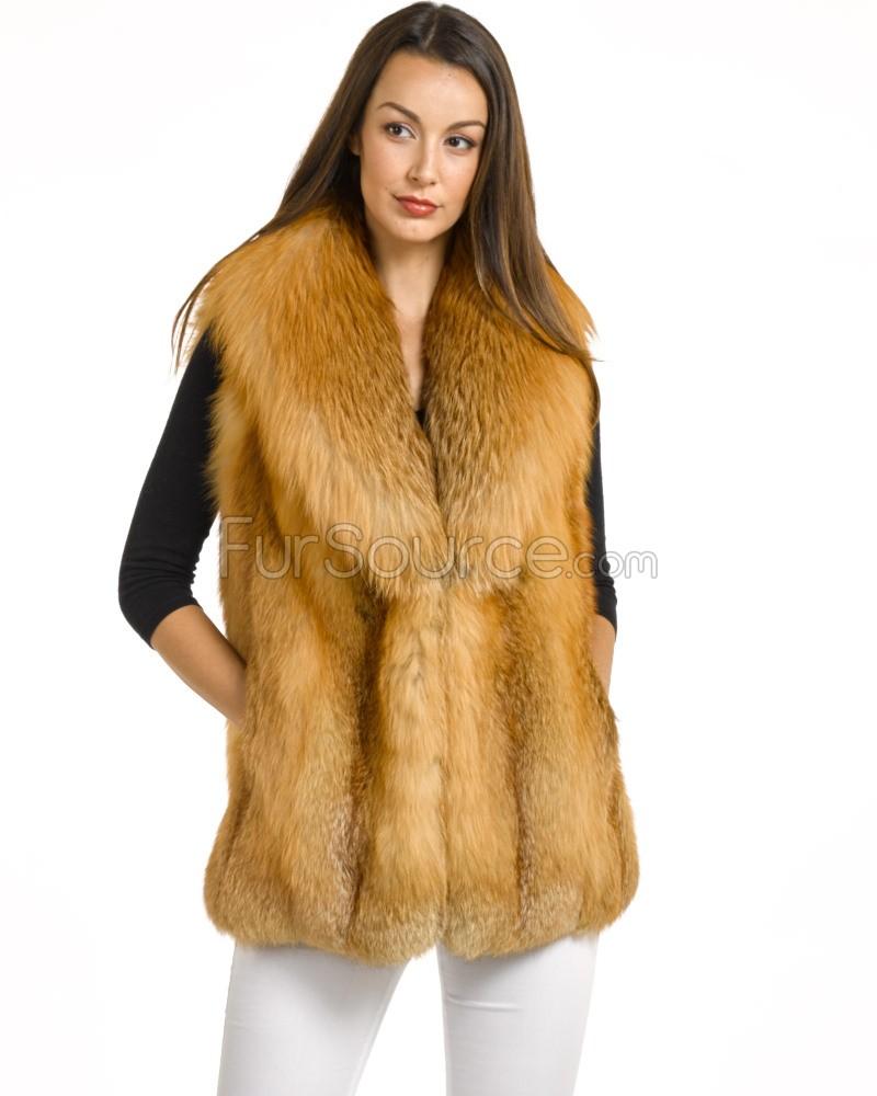 red fox crop fur vest QXUAOGZ