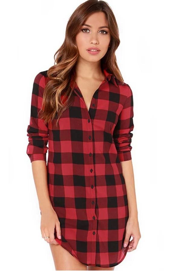 red plaid print long sleeve boyfriend shirt. loading CKNMOMN