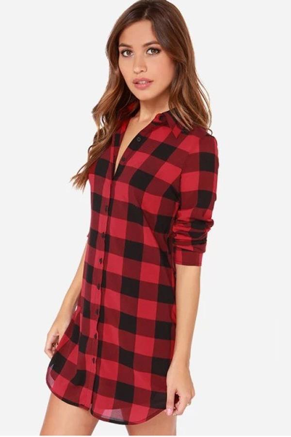 red plaid print long sleeve boyfriend shirt SUWHVBJ