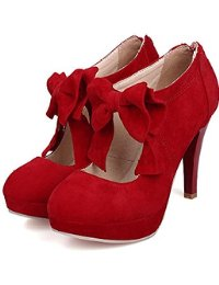 red pumps fashion vintage womens small bowtie platform pumps ladies sexy high heeled  shoes CAOYVBL